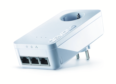 Devolo dLAN 650 triple+ ES - Bridge - 3-Port-Switch - GigE, HomePlug AV (HPAV) - an Wandsteckdose anschließbar